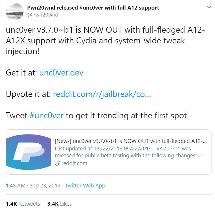 unc0ver supports iOS 11.0 through to iOS 12.4 (Excluding 12.3-12.3.2) Stable Utilizing the latest stable APT and Mobile Substrate, stability is guaranteed. What's New: Full-fledged A12-A12X support with Cydia and system-wide tweak injection
