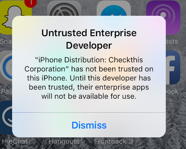 iOS Untrusted Enterprise Developer with no option to trust