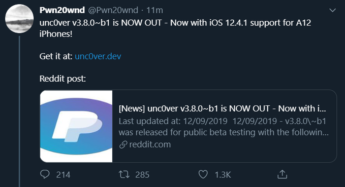 Unc0ver v3.8.0~b1 is NOW OUT - Now with iOS 12.4.1 support for A12 iPhones!