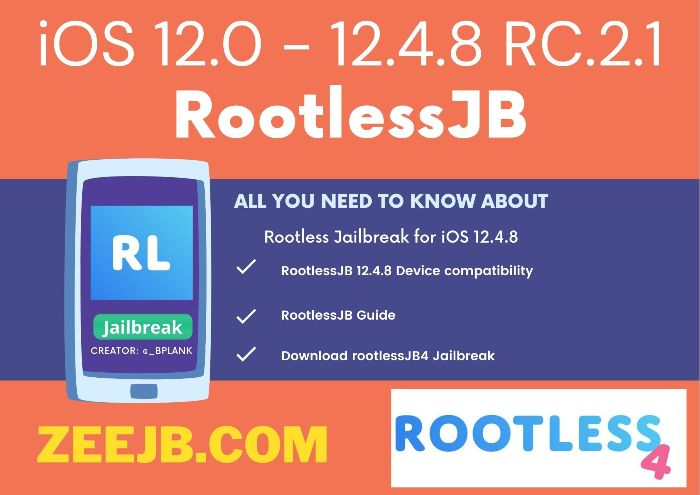 RootlessJB for 12.4.8 Rootless is the best solution for iOS 12.4.8 version because of Rootless Jailbreak support without PC.