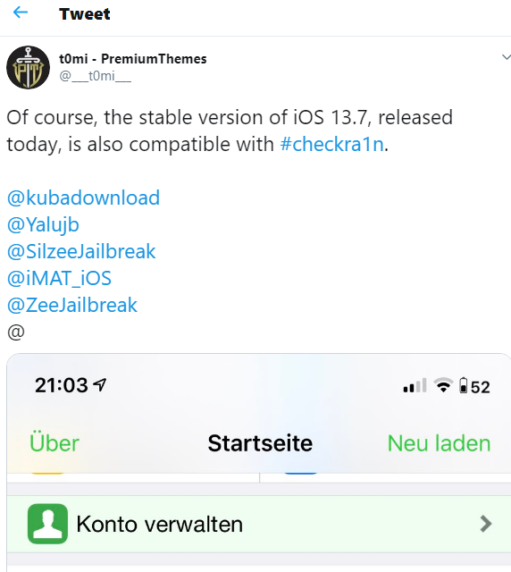 iOS 13.7 Jailbreak achieved — by famous Cydia tweak developer @___t0mi___.